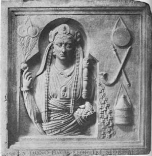 Funerary relief of a priest of Magna Mater (gallus) from Lavinium. Rome, Capitoline Museums (mid-second century AD). Image courtesy of Wikimedia Commons.