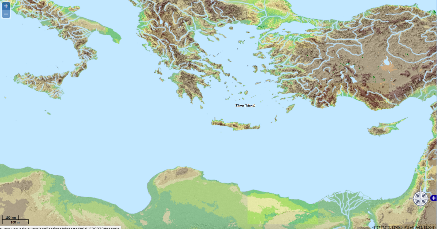 Figure 1: Map of the island of Thera (Akrotiri) via the Ancient World Mapping Center (UNC-CH).