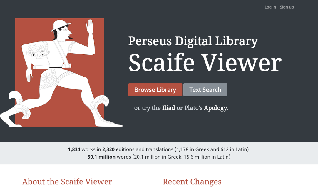 Splash screen of Perseus Scaife viewer