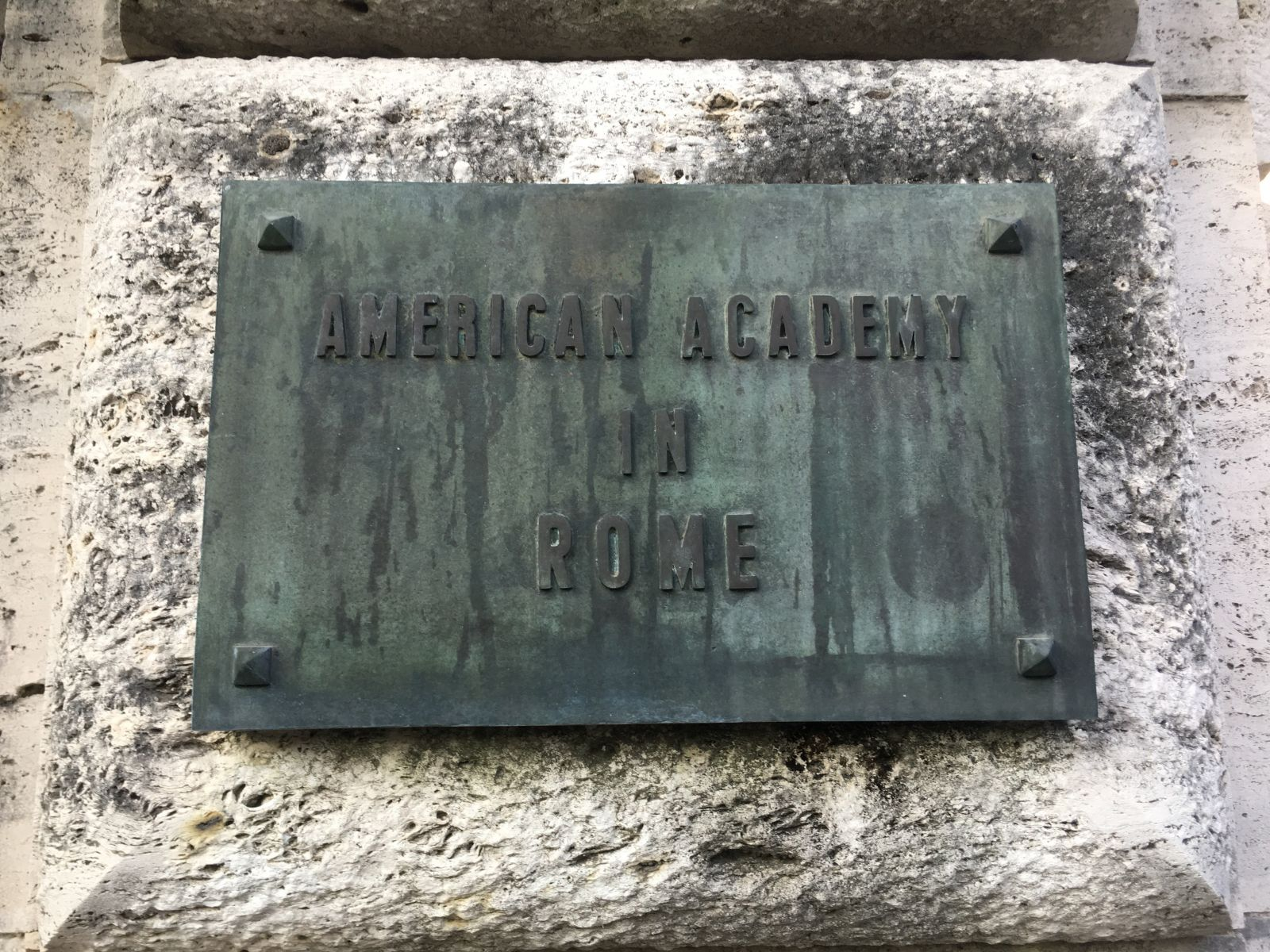 Plaque Outside the American Academy in Rome. Photo Courtesy of Catherine Bonesho.