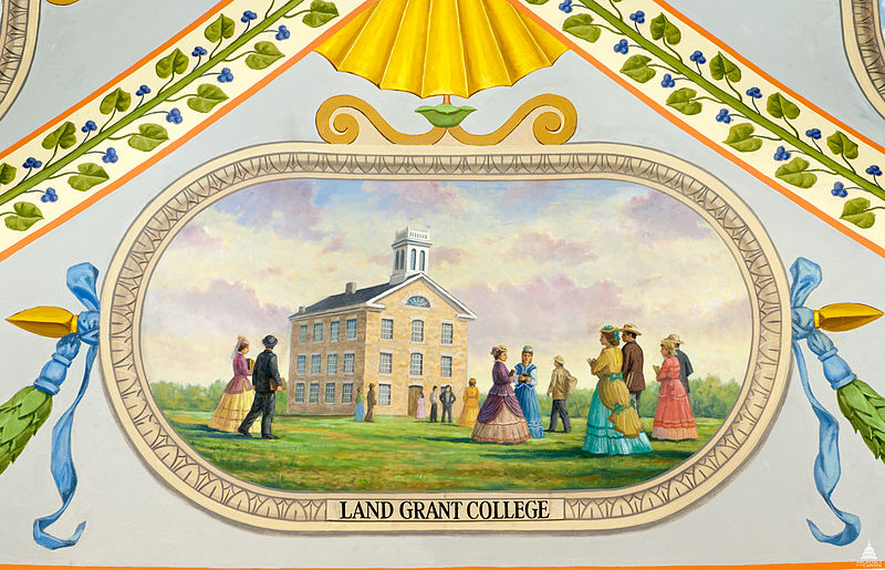 Figure 2: Later depiction of an early college building in Kansas established by the provisions in the Morrill Act (Image via the Architect of the Capitol under a CC-BY-SA 3.0).