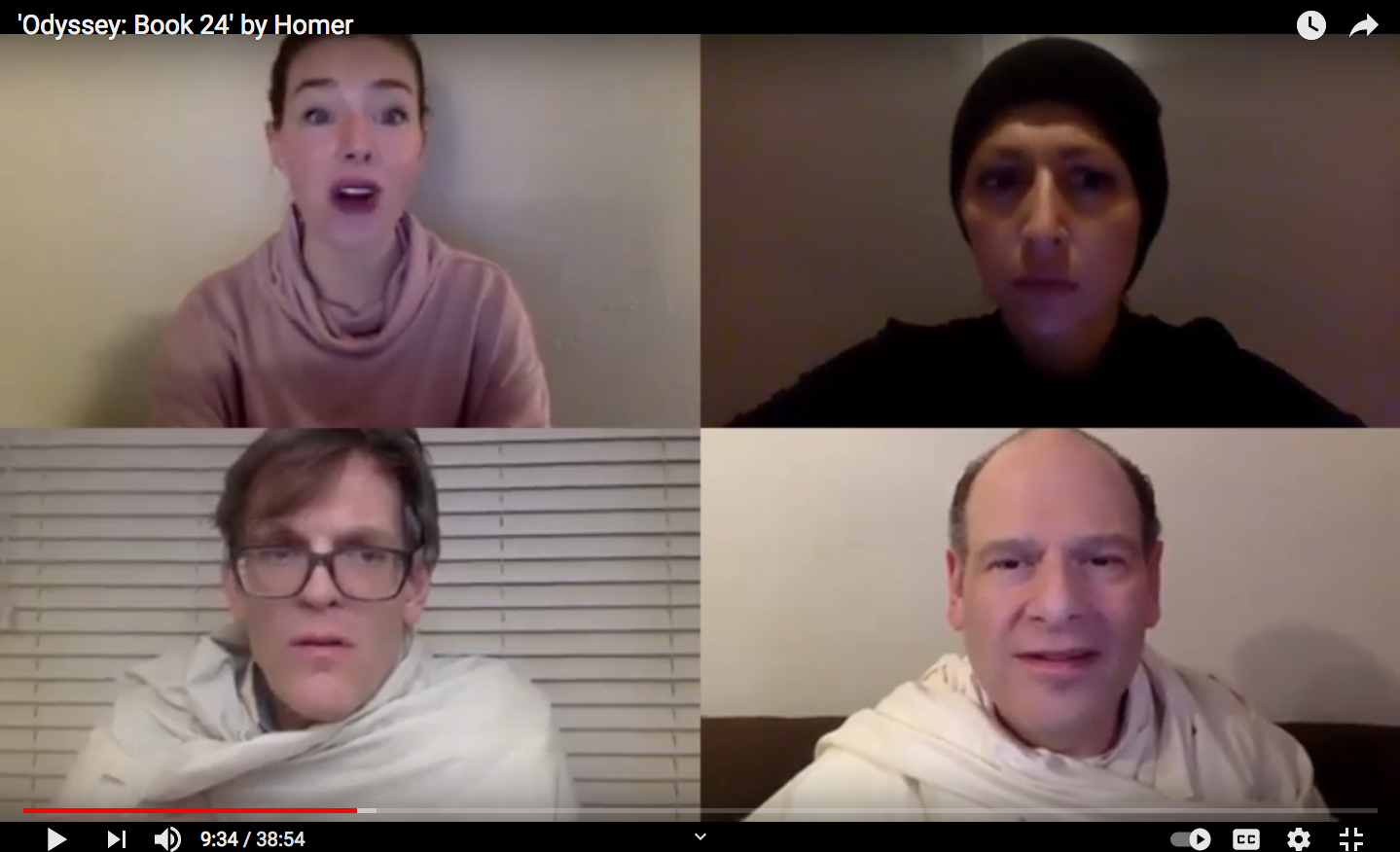 Figure 3. A screenshot from the virtual performance of Odyssey book 24 featuring, clockwise from the top left: Francesca Mintowt-Czyz as the narrator, Anne Mason as Amphimedon, Peter Parolin as Achilles, and Keith Otani Howard as Agamemnon.