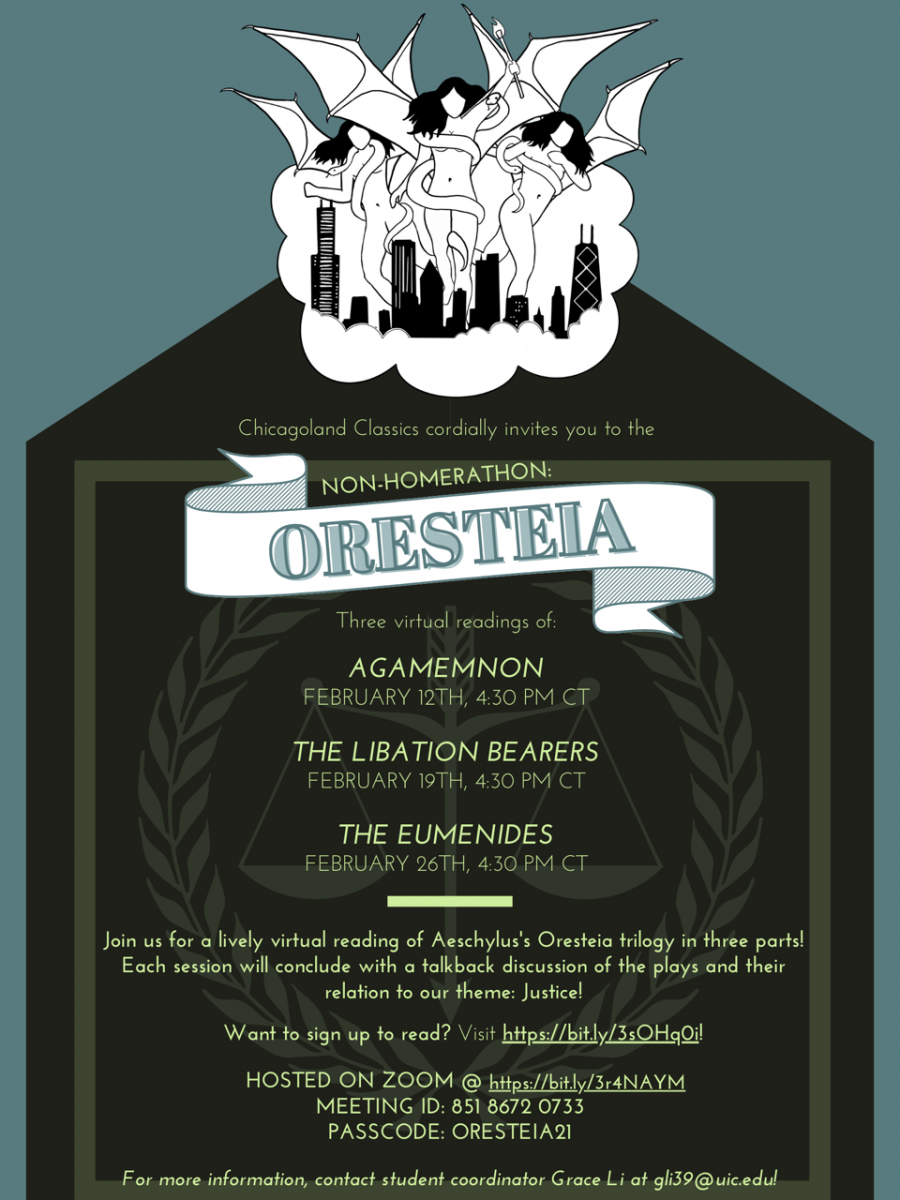 Figure 2. The poster for NonHomerathon: ORESTEIA, made by UIC student Jordan Parker '22, featuring a captivating image of the Furies attacking Chicago, designed by UIC student Samantha Mattern '22.