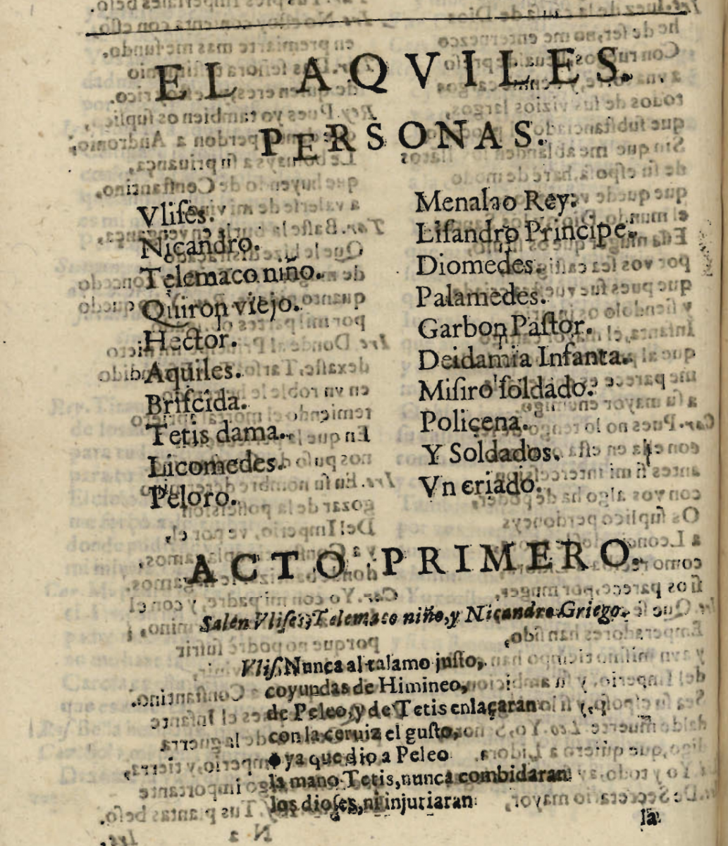 First Page of _El Aquiles_ by Tirso de Molina. Edition of 1636.
