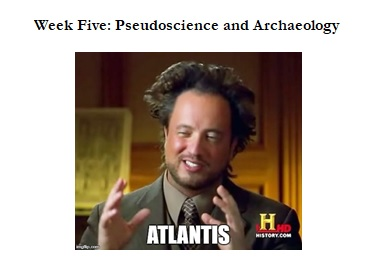 Figure 3: Meme of Tsoukalos with mad scientist hair and the block text 'Atlantis' between his gesturing hands, made by me for my in-class worksheet.