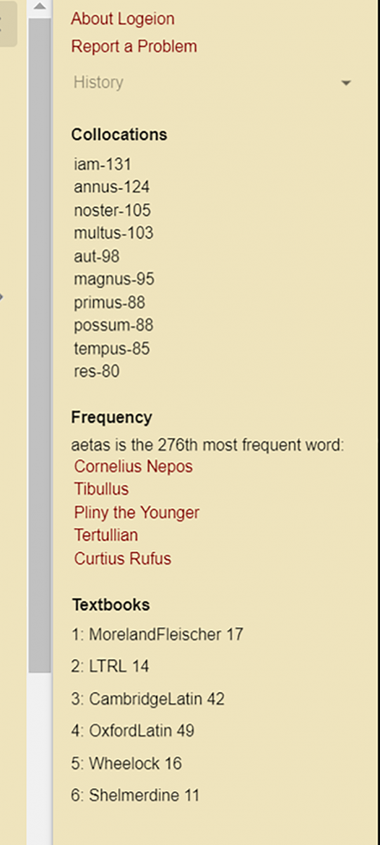 Fig 3: A sidebar in the desktop version shows common collocations (here for aetas), lists authors who use the word most frequently, and gives locations in common textbooks.